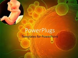 PowerPoint template displaying close up of a human egg cell and sperms