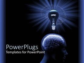 PowerPlugs: PowerPoint template with close up of human head with brain and traditional light bulb on top of head on black background