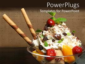 PowerPlugs: PowerPoint template with close up ice cream sundae with fruits leaves and candy straws