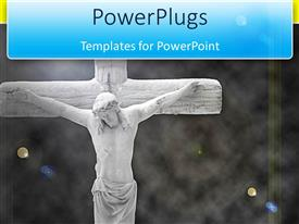 PowerPoint template displaying an close up image of Jesus Christ over a black background