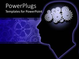 PowerPoint template displaying close up of inside head of man with gears as brain