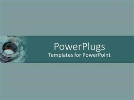 PowerPoint template displaying close up of internal threads on chrome nut with green and gray background
