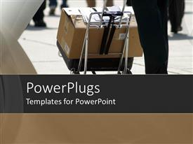 PowerPoint template displaying close up of man carrying large box over black luggage