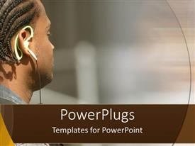 PowerPlugs: PowerPoint template with close up of man face wearing headphones listening to music with afro hairstyle
