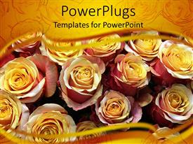 PowerPoint template displaying close up of many yellow pink roses with yellow margins