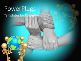 PowerPlugs: PowerPoint template with close up multicultural hands holding each other with different humanoids holding globe in front