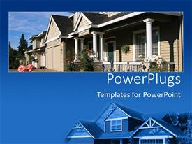 PowerPlugs: PowerPoint template with close up of new home on blue background