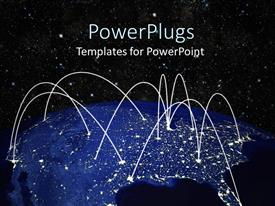 PowerPlugs: PowerPoint template with close up of North America on globe at night with inter-city communication links