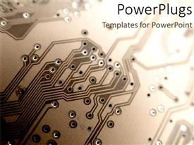 PowerPlugs: PowerPoint template with close up of a printed circuit board in shades of brown