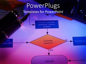 PowerPoint template displaying close up of Process flow chart with classy pen on top