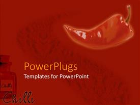 PowerPlugs: PowerPoint template with close up of Red hot chili pepper in red background