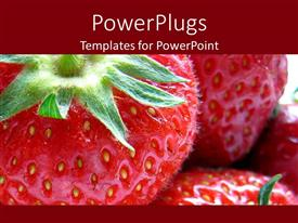 PowerPlugs: PowerPoint template with close up of red ripe strawberries with green base