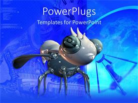 PowerPoint template displaying close up of robotic gray bug in detailed blue background