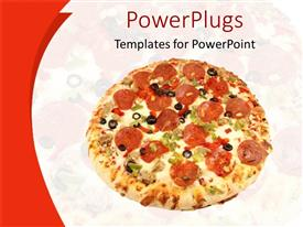 PowerPlugs: PowerPoint template with close up of salami pizza and pizza fading in the background
