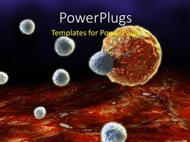 PowerPoint template displaying close up scan of human cells showing one cancerous cell