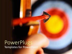PowerPlugs: PowerPoint template with close up shot of an arrow aiming at the center of a target board