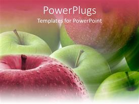 PowerPlugs: PowerPoint template with close up shot of lots of green and red apples