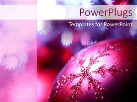 PowerPlugs: PowerPoint template with a close up shot of a purple colored Christmas tree ornament