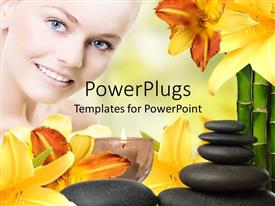 PowerPlugs: PowerPoint template with close up of smiling woman with blue eyes, with spa relaxing items, yellow flowers, zen relaxing stones, burning aromatic candle and bamboo sticks