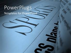 PowerPlugs: PowerPoint template with close up of sports section of a newspaper with blurred page on the right side