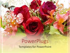 PowerPlugs: PowerPoint template with close up of various colorful flower bouquet, red roses and pink lily