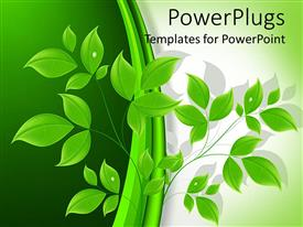 PowerPlugs: PowerPoint template with a close up view of a 3D branch with many leaves