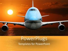 PowerPoint template displaying a close up view of an airplane flying over a sunset