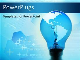 PowerPlugs: PowerPoint template with a close up view of a bulb with a map and some crosses