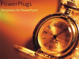 PowerPlugs: PowerPoint template with a close up view of a clock with a blurry background