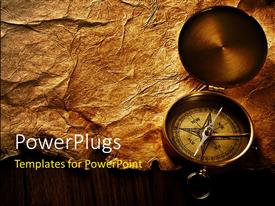 PowerPlugs: PowerPoint template with close up view of the compass on old paper