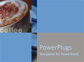 PowerPoint template displaying close up view of foamed milk sprinkled with cinnamon on cup of coffee