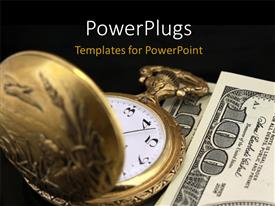 PowerPlugs: PowerPoint template with a close up view of a gold colored pocket watch  on some dollar bills