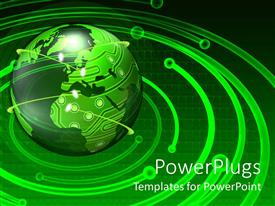 PowerPoint template displaying a close up view of a green colored 3d globe with orbits