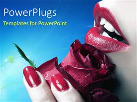PowerPoint template displaying a close up view of a lady holding a red flower