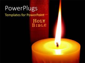 PowerPlugs: PowerPoint template with a close up view of a large candle with a bible at the back