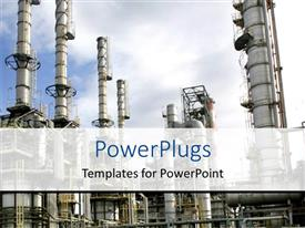 PowerPlugs: PowerPoint template with a close up view of a large oil refinery