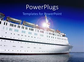 PowerPlugs: PowerPoint template with a close up view of a large ship on a calm sea