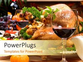 PowerPlugs: PowerPoint template with close up view of lots of dishes and a glass with wine