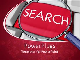 PowerPlugs: PowerPoint template with close up view of magnifying glass on red search button on keyboard