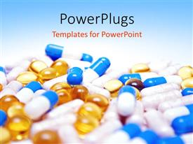 PowerPlugs: PowerPoint template with close up view of multi colored tablets and capsules with blue color