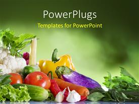 PowerPoint template displaying close up view of nice fresh vegetables on green textured background
