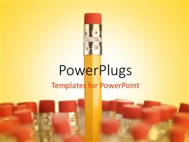 PowerPlugs: PowerPoint template with a close up view of a pencil with lots of pencil buttoms