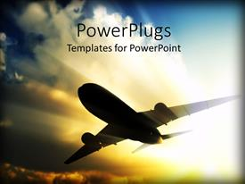 PowerPlugs: PowerPoint template with a close up view of a plane flying over a bright sky