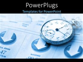 PowerPlugs: PowerPoint template with a close up view of pocket clock on a document