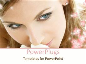 PowerPlugs: PowerPoint template with a close up view of  pretty lady with shinning flowers