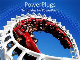 PowerPoint template displaying a close up view of a roller coaster with people