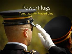 PowerPoint template displaying a close up view of an serving official saluting