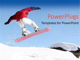 PowerPlugs: PowerPoint template with close up view of snowboarder jumping in the air on snowy mountain