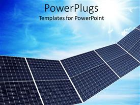 PowerPlugs: PowerPoint template with a close up view of some solar panels over a blue sky