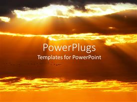 PowerPlugs: PowerPoint template with close up view of sunset with cloudy sky with sun rays shining through the clouds